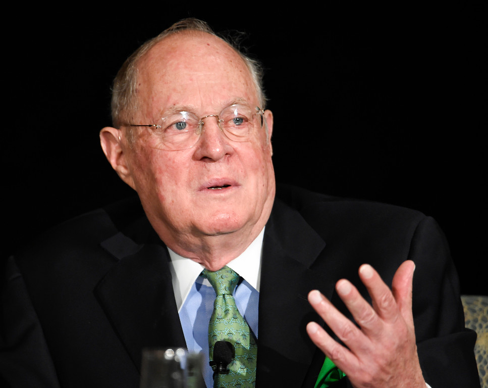 . FILE - In this July 15, 2015 file photo, Supreme Court Justice Anthony Kennedy speaks in San Diego. Kennedy says a willingness to change course on the bench is not an indication of weakness, but rather a sign of �fidelity to your judicial oath.� Kennedy told a meeting of international lawyers in Washington Friday, Sept. 23, 2016, that judges must be willing to re-examine their premises. His remarks sounded like a partial explanation of his votes in two recent cases involving race, in which he uncharacteristically sided with liberal justices.  (AP Photo/Denis Poroy, File)