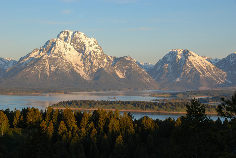 Mt Moran on the left with Jackson Lake at the foot