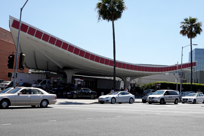 """The  historic  Union 76 gas station is at the corner of Crescent Drive and Little Santa Monica Boulevard, and according to Los Angeles Conservancy, is """"a true icon of Mid-Century Modernism."""" It was completed in 1965."""
