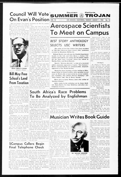 Summer Trojan, Vol. 11, No. 12, August 01, 1961