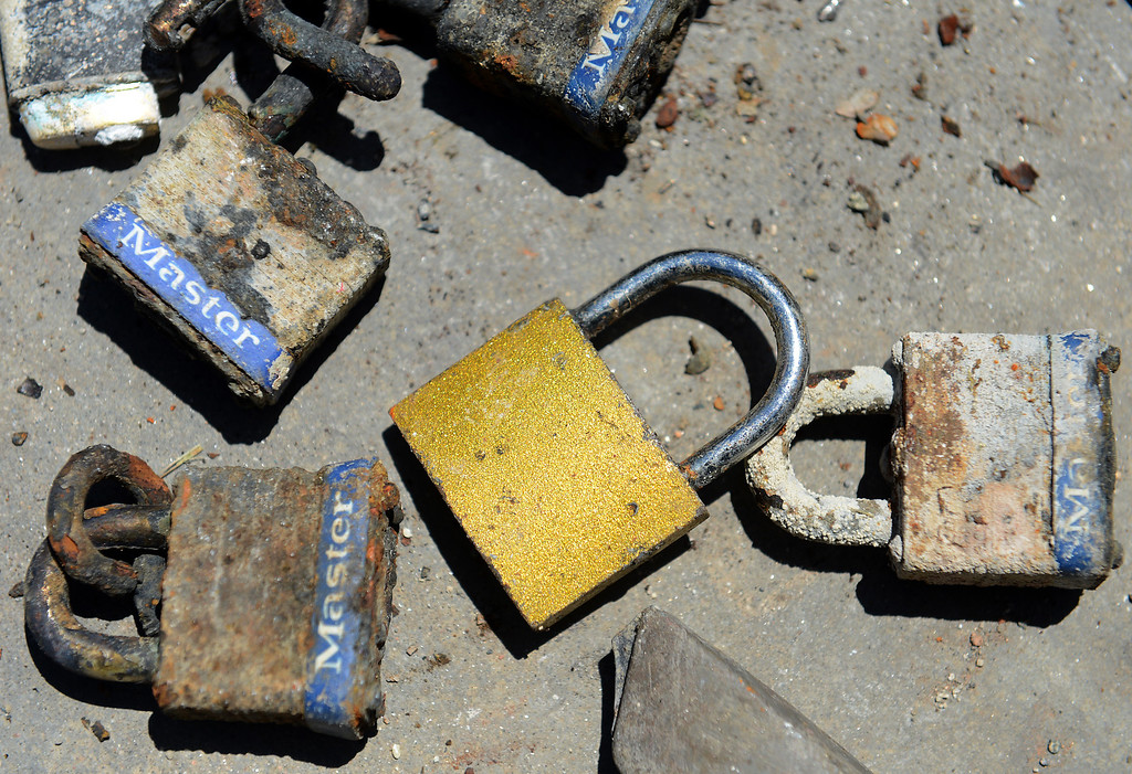 . Padlocks found in the lake at Red Hill Park in Rancho Cucamonga, CA, Thursday, June 5, 2014. (Photo by Jennifer Cappuccio Maher/Inland Valley Daily Bulletin)