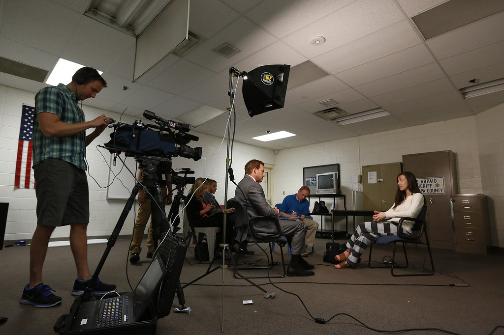 . Convicted killer Jodi Arias speaks during an interview at the Maricopa County Estrella Jail on Tuesday, May 21, 2013, in Phoenix.  Arias was convicted recently of killing her former boyfriend Travis Alexander in in his suburban Phoenix home back in 2008, and could face the possibility of the death penalty as the sentencing phase of her trial continues. (AP Photo/Ross D. Franklin)