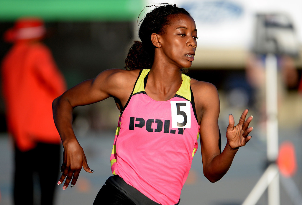 . Long Beach Poly\'s Kaelin Roberts competes in the 400 meter dash during the CIF-SS Masters Track and Field meet at Falcon Field on the campus of Cerritos College in Norwalk, Calif., on Friday, May 30, 2014.   (Keith Birmingham/Pasadena Star-News)