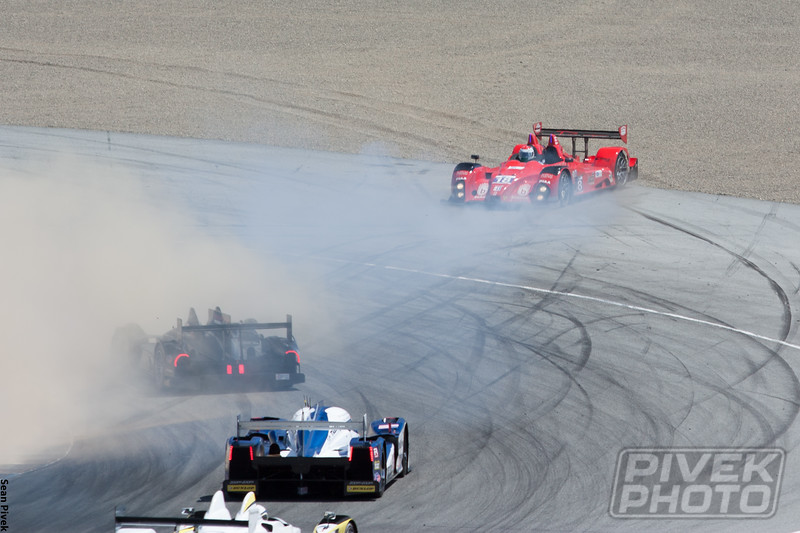 Anthony Nicolosi spins at the same spot PLACEHOLDER spun earlier in the race.  Nicolosi beached the car, however, bringing out the second safety car.