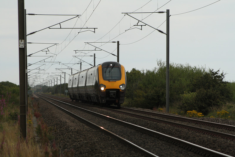 220010 approaching West Goswick Farm LC on a Southbound CrossCountry service