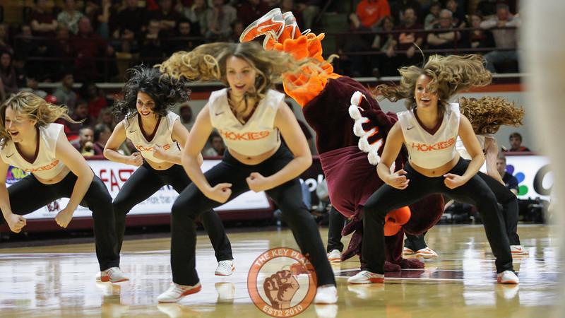 The Hokiebird joins the Virginia Tech High Techs during a media timeout. (Mark Umansky/TheKeyPlay.com)