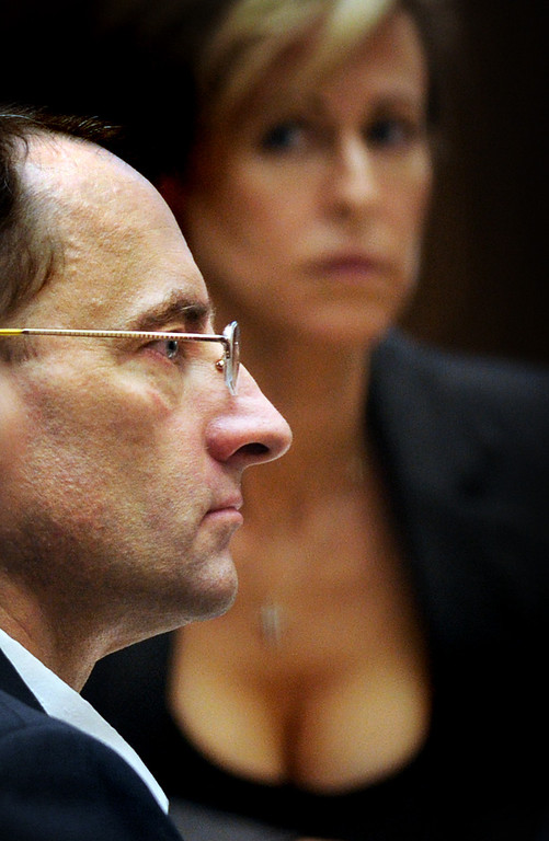 """. Christian Gerhartsreiter with one of his attorneys Daniell Menard listening to Dr. Frank Sheridan, coroner for San Bernardino County testify. The murder trial of Christian Gerhartsreiter, 52,  known as \""""Clark\"""" Rockefeller, second day at trial at Clara Shortridge Fortz Criminal Justice Center in Los Angeles on third day of the trial  Wednesday, March 20, 2013.  Gerhartsreiter is a German immigrant who masqueraded as a member of the Rockefeller family. He is charged with murder of John Sohus, 27, whose bones were unearthed from the backyard of the home in San Marino, California, in 1985.  Sohus\' wife, Linda, has never been found. (SGVN/Photo by Walt Mancini/LANG)"""