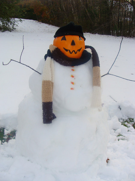 We couldn't go trick or treating, so we made a snowman instead! Frosty the Jack-O-Lantern!  The Solomons Family