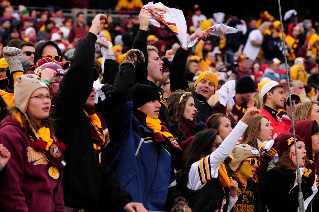 . Minnesota fans cheer as the University of Minnesota Golden Gophers beat the Nebraska Cornhuskers 34-23.  (Pioneer Press: Scott Takushi)