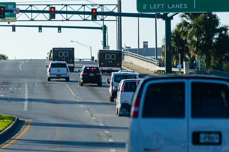 President Donald J. Trump's motorcade travels on Southern Blvd. to Palm Beach International Airport, on Sunday, January 05, 2020. [JOSEPH FORZANO/palmbeachpost.com]
