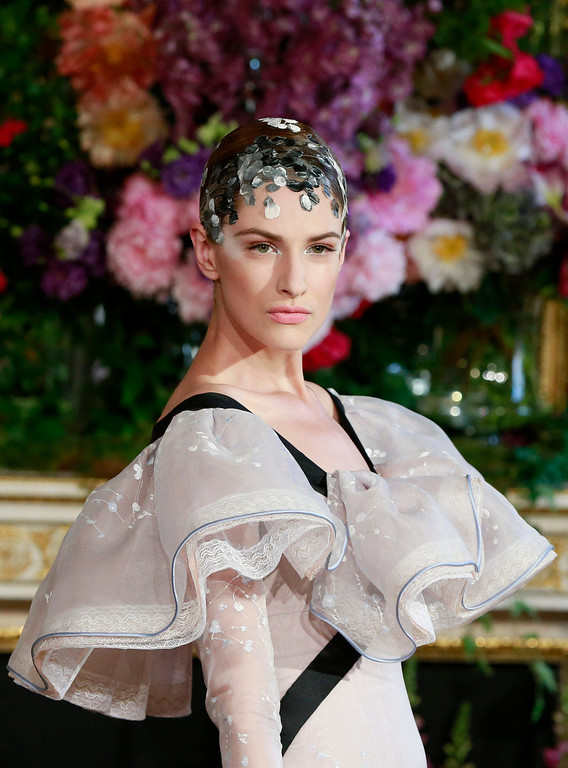 . A model presents a creation by French designer Alexis Mabille as part of his  Haute Couture Fall Winter 2013/2014 fashion show in Paris July 1, 2013.   REUTERS/Gonzalo Fuentes