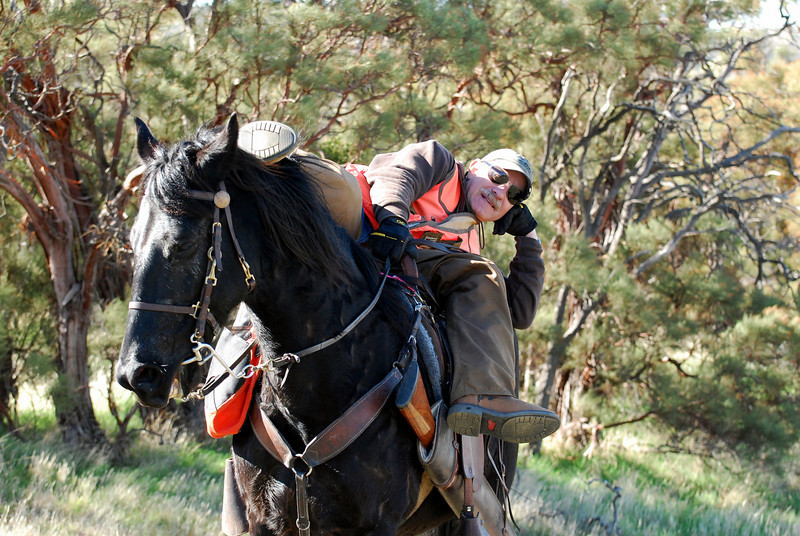 Ellis demonstrates how to take a nap on your horse