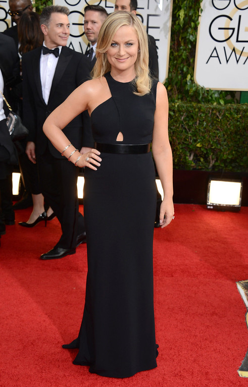. Amy Poehler arrives at the 71st annual Golden Globe Awards at the Beverly Hilton Hotel on Sunday, Jan. 12, 2014, in Beverly Hills, Calif. (Photo by Jordan Strauss/Invision/AP)