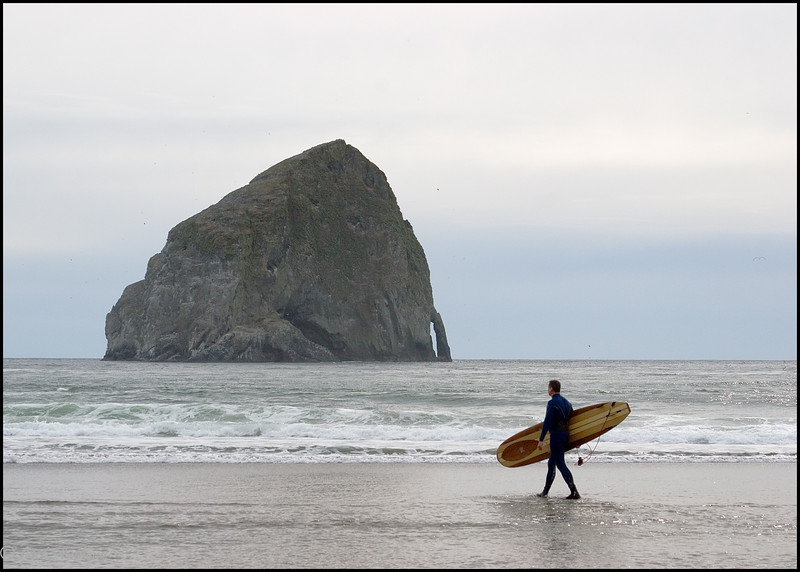 Oregon Coast surfing with small waves