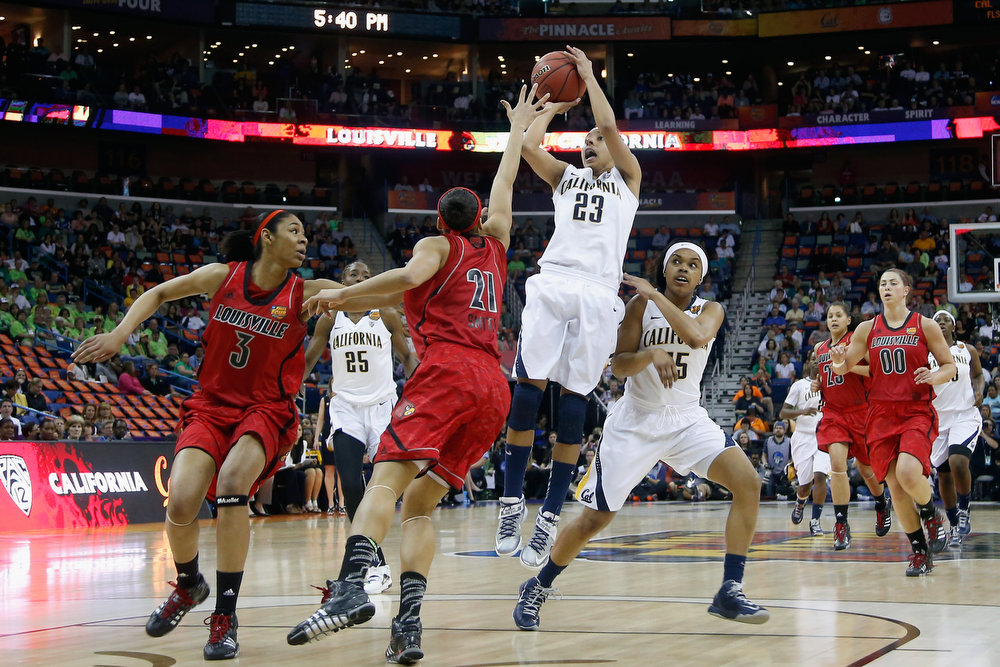 Description of . Layshia Clarendon #23 of the California Golden Bears shoots the ball over Bria Smith #21 of the Louisville Cardinals during the National Semifinal game of the 2013 NCAA Division I Women's Basketball Championship at the New Orleans Arena on April 7, 2013 in New Orleans, Louisiana.  (Photo by Chris Graythen/Getty Images)