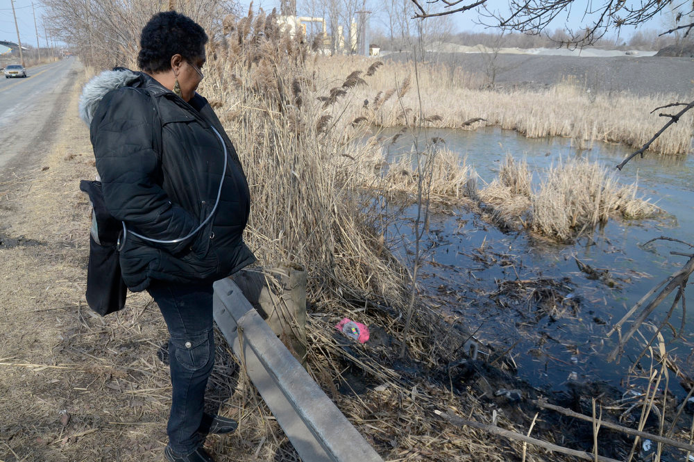 . Carol Trimble of Warren, a family member of the victims, views the pond along Pine Avenue S.E. in Warren, Ohio where police say six teens were killed in the crash, Sunday, March 10, 2013. (AP Photo/Tribune Chronicle, R. Michael Semple)