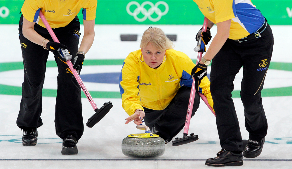 . Sweden\'s Anette Norberg takes a shot during the gold medal women\'s curling match against Canada at the Vancouver 2010 Olympics in Vancouver, British Columbia, Friday, Feb. 26, 2010. (AP Photo/Robert Bukaty)