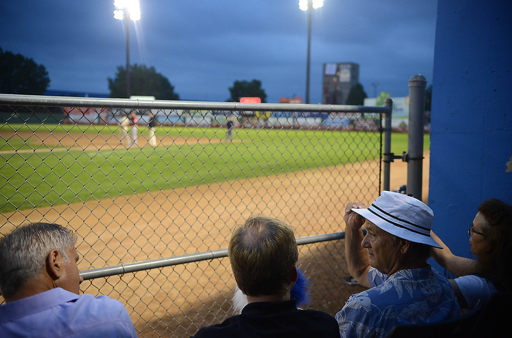. Bill Muray and friends watch as the St. Paul Saints play the Winnipeg Goldeyes. (Pioneer Press: Ben Garvin)