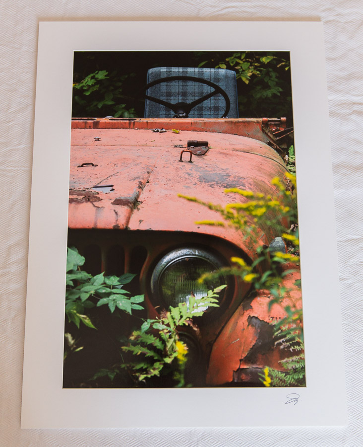 A mounted and matted print ready for framing.