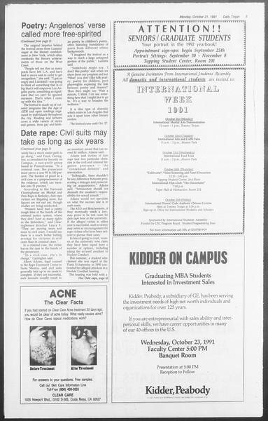 Daily Trojan, Vol. 116, No. 35, October 21, 1991