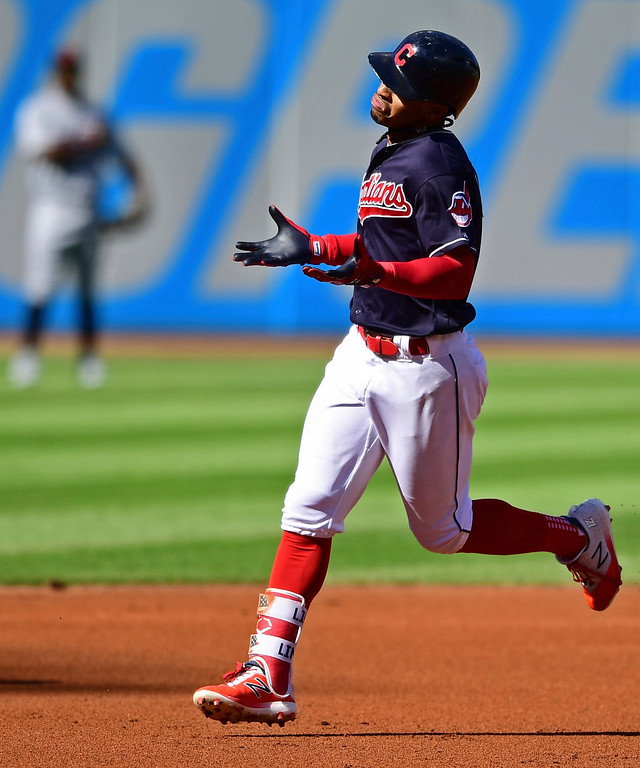 . Cleveland Indians\' Francisco Lindor runs the bases after hitting a solo home run off Detroit Tigers starting pitcher Michael Fulmer in the first inning of a baseball game, Saturday, Sept.15, 2018, in Cleveland. (AP Photo/David Dermer)