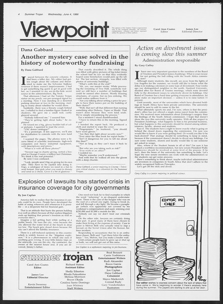 Summer Trojan, Vol. 101, No. 3, June 04, 1986