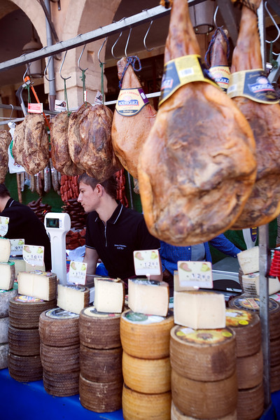 Ham and cheese for sale, town of Leon, autonomous community of Castilla y Leon, northern Spain