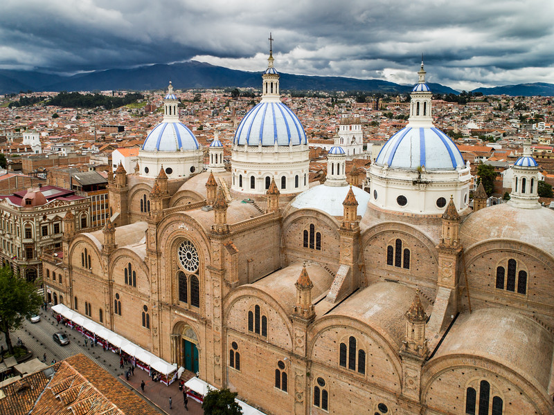 Aerial View Of New Cathedral In Center Of Cuenca, Ecuador