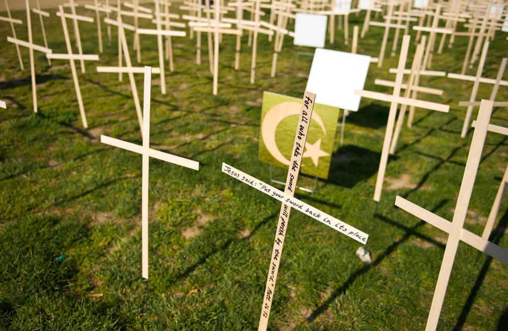 Description of . Hundreds of crosses, representing gun deaths since the Newtown, Connecticut elementary shootings, are placed on the National Mall on April 11, 2013 in Washington, DC. Two US senators have reached a compromise that would expand background checks for gun sales, an official said, in what could result in the most ambitious change to gun laws since 1994. The deal comes four months after the Connecticut shootings that took the epidemic of gun violence in the United States to an alarming new level.    KAREN BLEIER/AFP/Getty Images