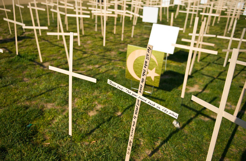 . Hundreds of crosses, representing gun deaths since the Newtown, Connecticut elementary shootings, are placed on the National Mall on April 11, 2013 in Washington, DC. Two US senators have reached a compromise that would expand background checks for gun sales, an official said, in what could result in the most ambitious change to gun laws since 1994. The deal comes four months after the Connecticut shootings that took the epidemic of gun violence in the United States to an alarming new level.    KAREN BLEIER/AFP/Getty Images