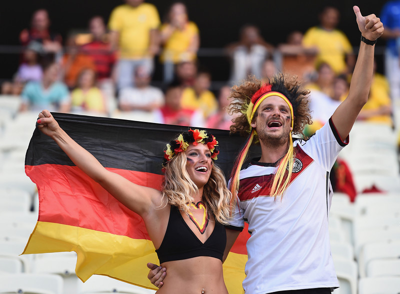 . Germany fans enjoy the atmosphere during the 2014 FIFA World Cup Brazil Group G match between Germany and Ghana at Castelao on June 21, 2014 in Fortaleza, Brazil.  (Photo by Laurence Griffiths/Getty Images)
