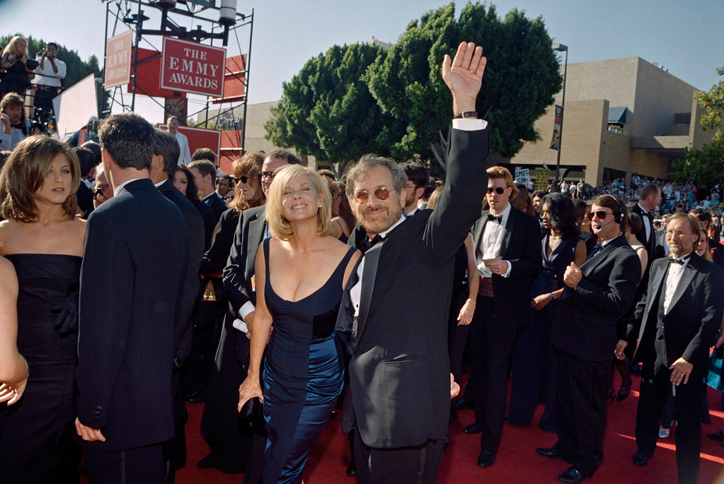 . US film director Steven Spielberg arrives with his wife Kate Capshaw at the 47th annual Emmy awards in Pasadena.   VINCE BUCCI/AFP/Getty Images