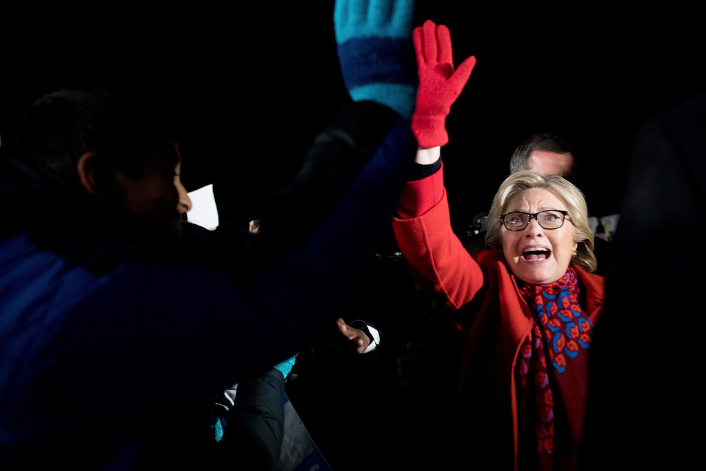 . Democratic presidential candidate Hillary Clinton greets supporters as she arrives at Westchester County Airport in White Plains, N.Y., Tuesday, Nov. 8, 2016. (AP Photo/Andrew Harnik)
