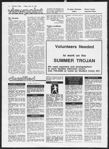Summer Trojan, Vol. 90, No. 2, June 19, 1981