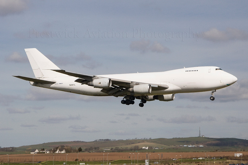 N2061L. Boeing 747-245F(SCD). Air Freight Express. Prestwick. 030407.  Ferried all the way up from Stansted with the gear down.  After undergoing gear testing at Prestwick it went on to a more colourful career with Pronair Airlines.