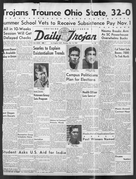 Daily Trojan, Vol. 39, No. 21, October 13, 1947