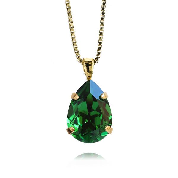 Mini Drop Necklace / Dark Moss Green / Gold