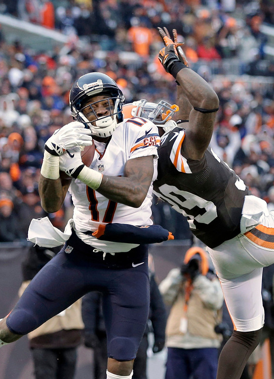 . Chicago Bears wide receiver Alshon Jeffery catches a 45-yard touchdown pass against Cleveland Browns free safety Tashaun Gipson in the second half of an NFL football game Sunday, Dec. 15, 2013, in Cleveland. (AP Photo/Mark Duncan)