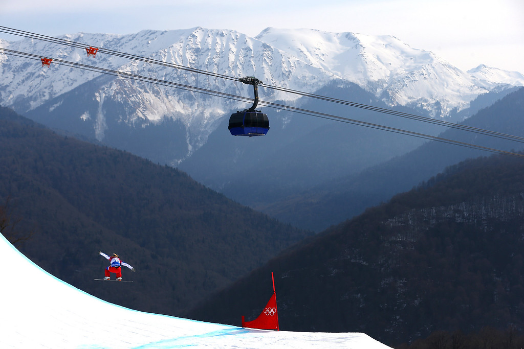 . Charlotte Bankes of France during the Ladies\' Snowboard Cross Seeding on day nine of the Sochi 2014 Winter Olympics at Rosa Khutor Extreme Park on February 16, 2014 in Sochi, Russia.  (Photo by Streeter Lecka/Getty Images)