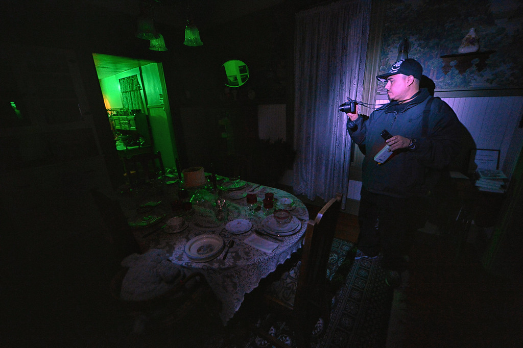 . Jacob Kire, co-founder of the Enlightened Paranormal Investigators of California, hunts for ghosts at the Santa Clarita Historical Heritage Junction in Newhall Friday, October 25, 2013. (Photo by Hans Gutknecht/Los Angeles Daily News)