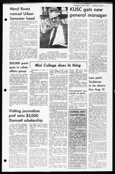 Summer Trojan, Vol. 60, No. 13, August 06, 1969