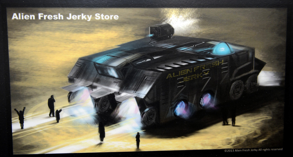. Artist rendering of the remodeling of the Alien Fresh Jerky in Baker, CA, Thursday, April 3, 2014. The owner is planning to build a UFO shaped hotel behind the popular Alien Fresh Jerky store. (Photo by Jennifer Cappuccio Maher/Inland Valley Daily Bulletin)