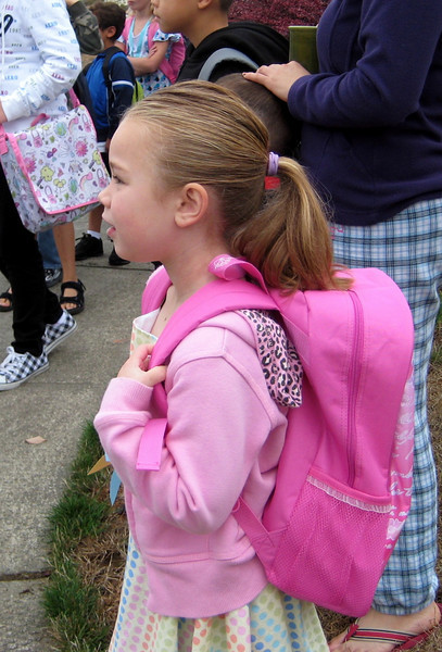 9.10.2009 - First day of kindergarten. Waiting for the bus to come.