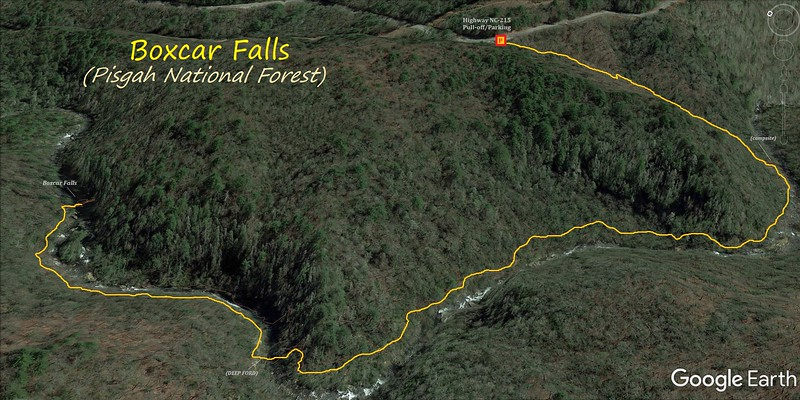 Boxcar Falls Hike Route Map