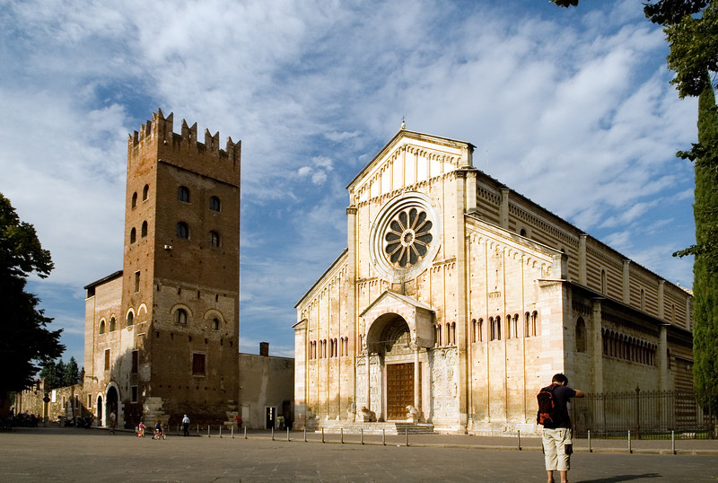 Romanesque San Zeno monastery (tower to the left) and Basilica (to the right), Verona, Veneto, Italy