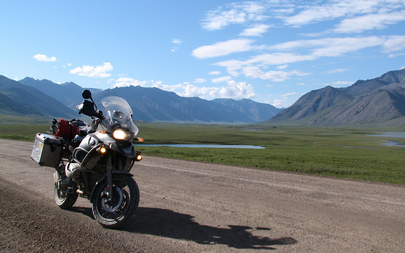 """On the """"haul road"""" about 150 miles above the Arctic Circle on the tundra: Gary has an extensive collection of photos of his travels here:  http://gary5410.smugmug.com/Motorcycles"""
