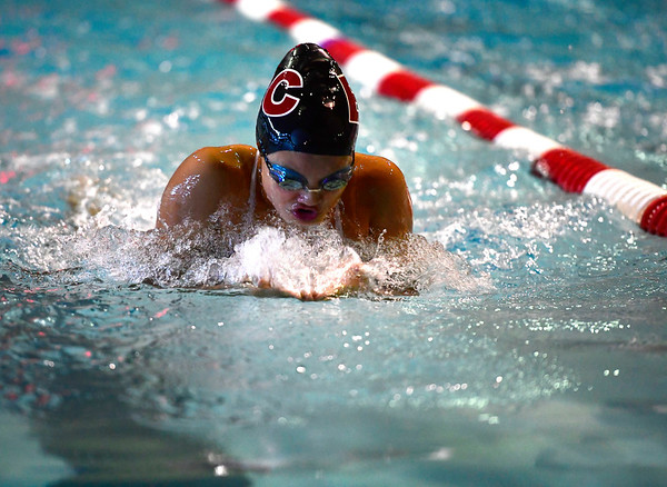 10/12/2019 Mike Orazzi | Staff Bristol Central's Nyomi Cordero during the city swim meet on Saturday night.