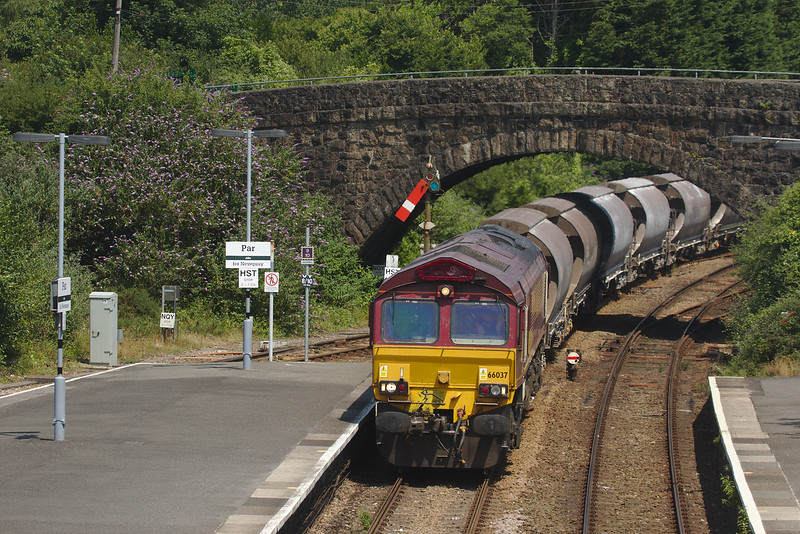 DB Schenker 66037 on the china clay loads 663M Parkandillack to St. Blazey Ss