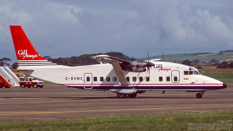 G-BVMX. Short 360-200. Gill Airways. Prestwick. August. 1997.