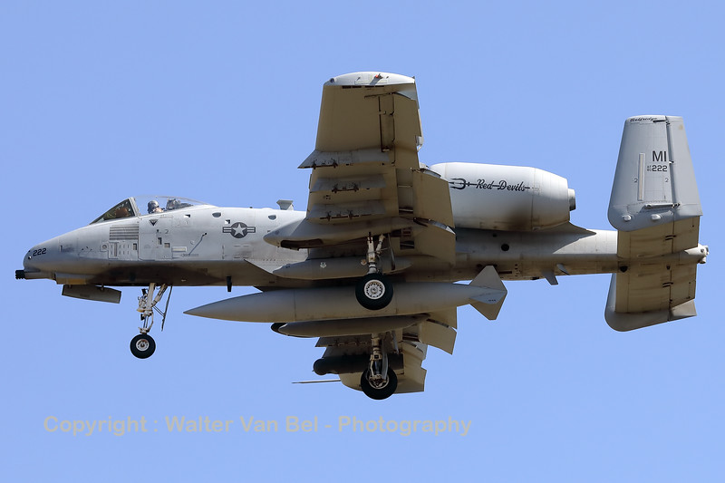 """A USAF A-10C Thunderbolt II (80-0222; cnA10-0572) is seen here on final for RWY05 at ETAD. This A-10C belongs to the 107th Fighter Squadron """"Red Devils"""", which is a unit of the Michigan Air National Guard 127th Wing. It is assigned to Selfridge Air National Guard Base, Michigan."""